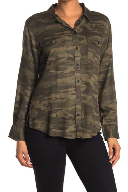 Image of Sanctuary Long Sleeve Camo Tencel Boyfriend Shirt