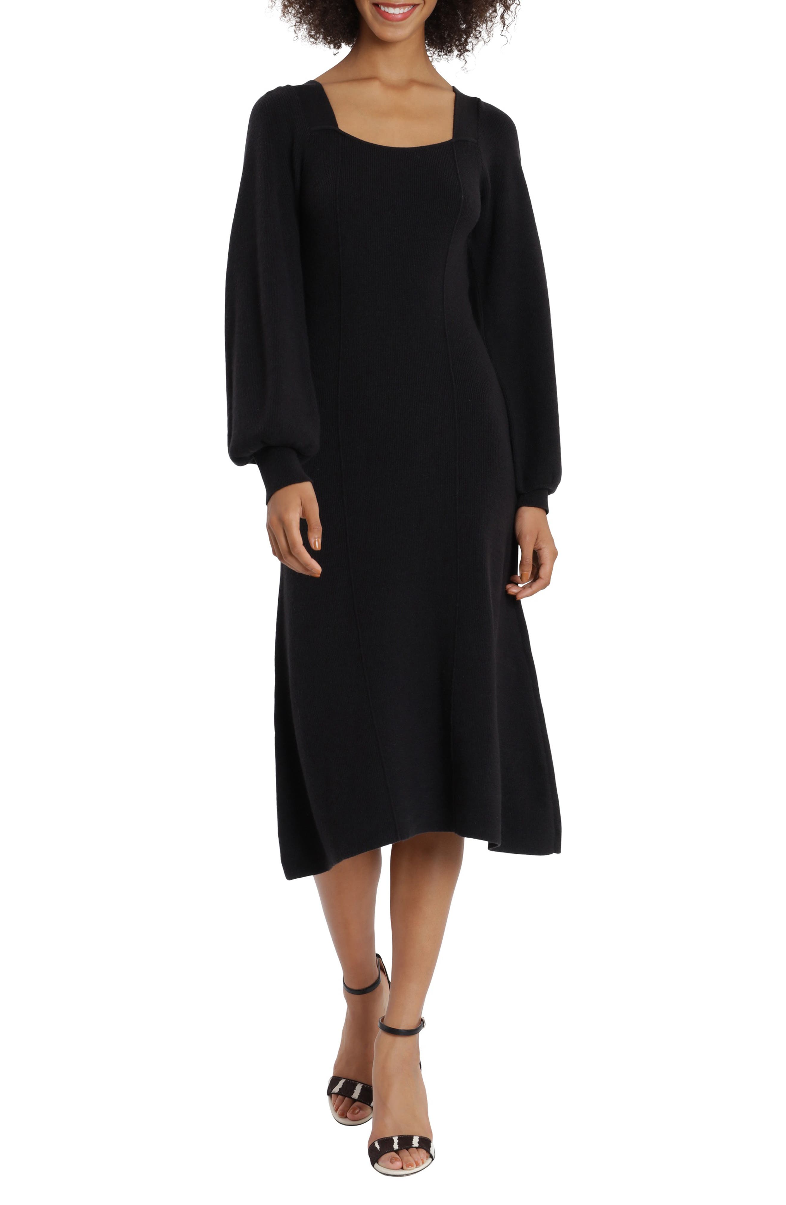 Square Neck Long Sleeve Sweater Dress