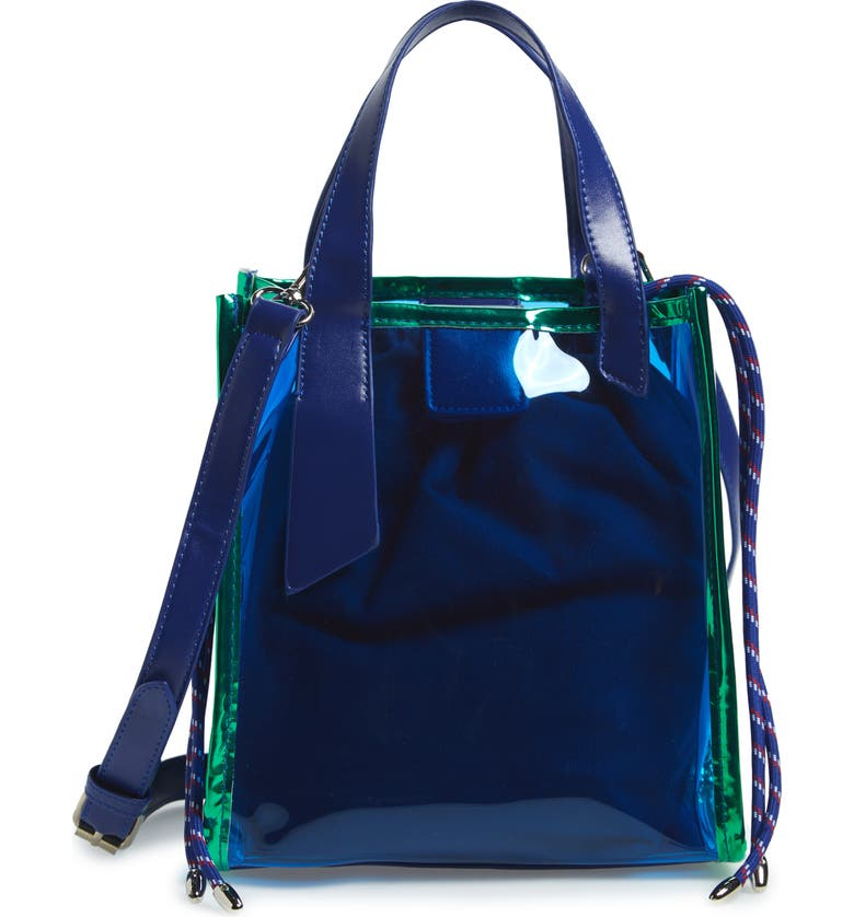 KNOTTY Transparent Tote, Main, color, BLUE IRIDESCENT