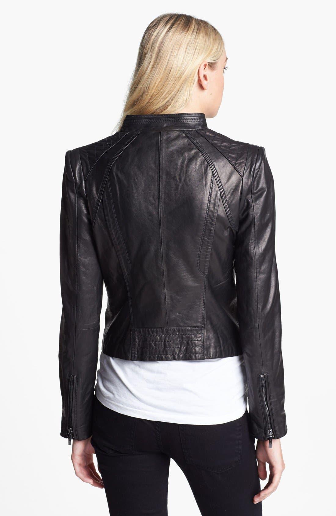 ,                             Leather Moto Jacket,                             Alternate thumbnail 3, color,                             001