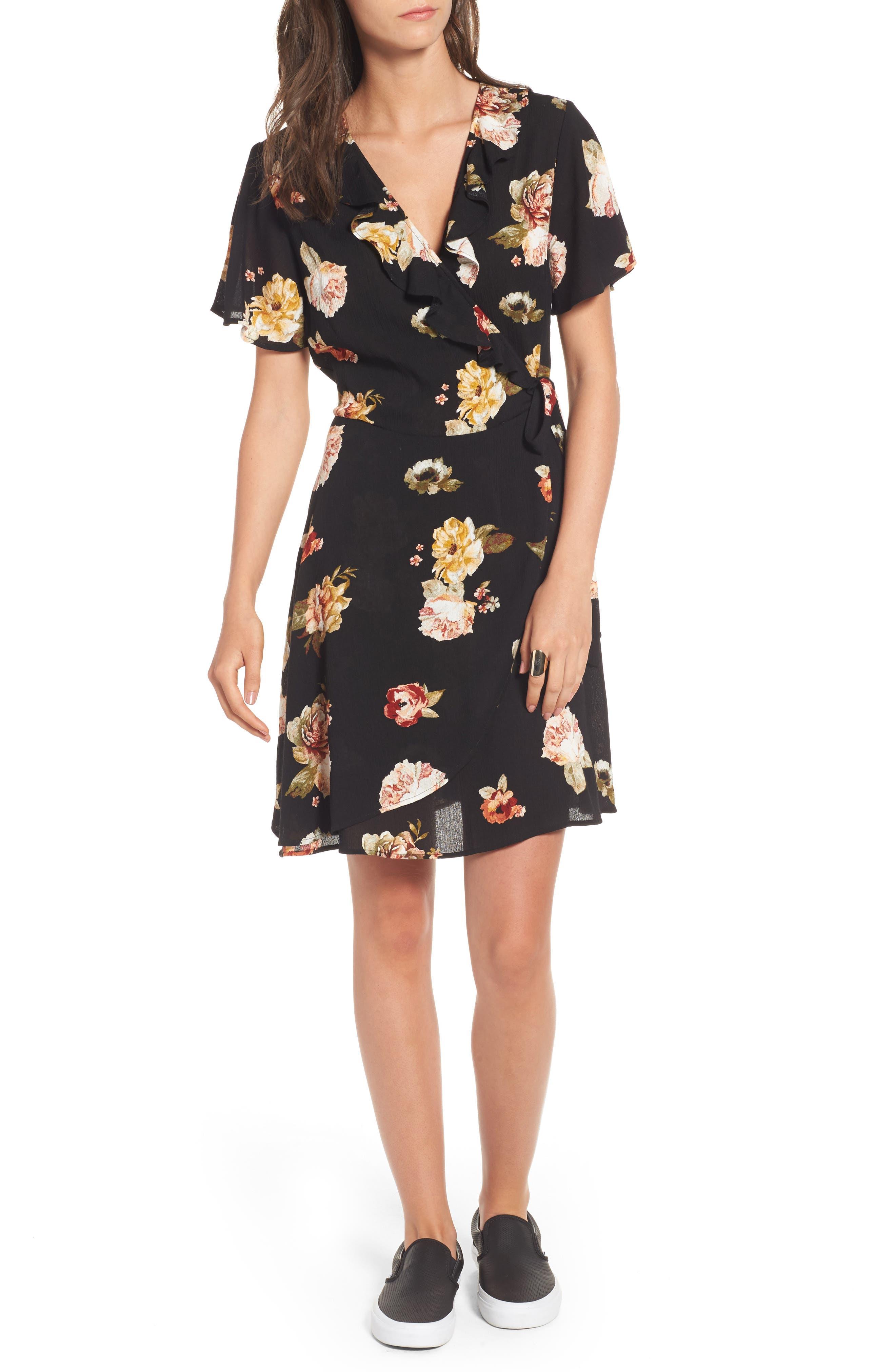 ,                             Floral Gauze Wrap Dress,                             Main thumbnail 1, color,                             001