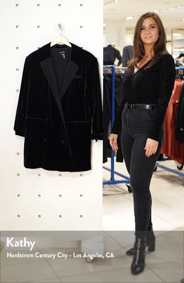 Velvet Ruched Sleeve Blazer, sales video thumbnail