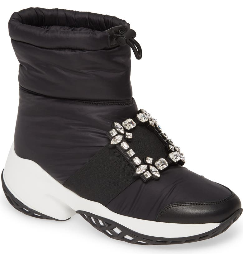 ROGER VIVIER Viv Run Crystal Buckle Snow Boot, Main, color, 001