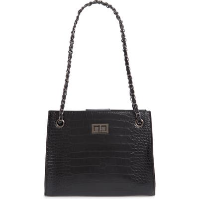 Knotty Crocodile Embossed Shoulder Bag With Zip Pouch - Black