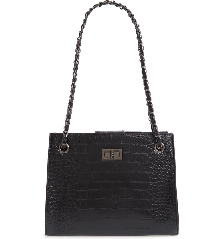 Crocodile Embossed Shoulder Bag With Zip Pouch by Knotty