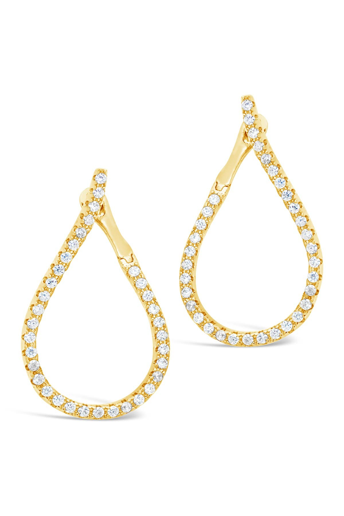 Image of Sterling Forever 14K Gold Plated Brass CZ Studded Drop Earrings