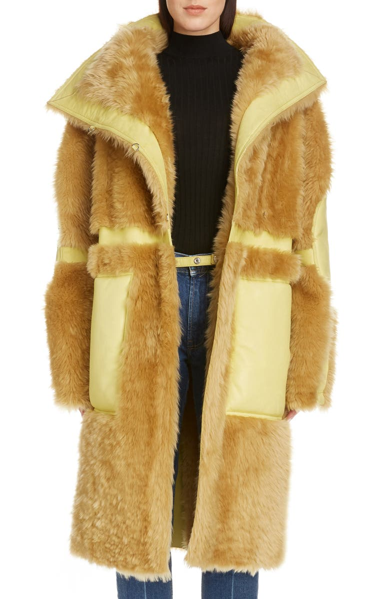 ACNE STUDIOS Luelle Genuine Shearling Coat, Main, color, MUSTARD YELLOW/ PALE YELLOW