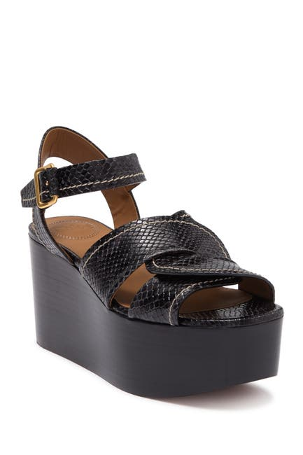 Image of Chloe Candice Snake Embossed Leather Platform Sandal