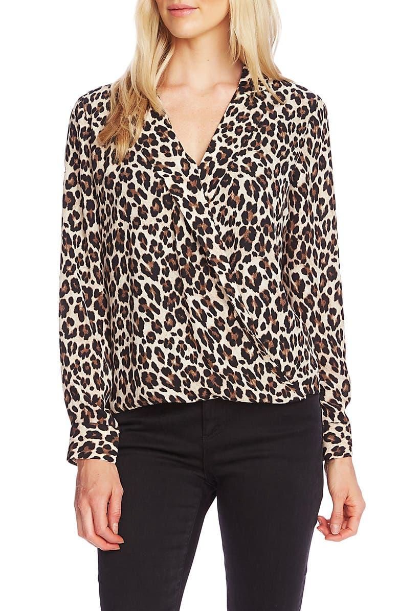 VINCE CAMUTO Notch Collar Leopard Print Blouse, Main, color, RICH BLACK