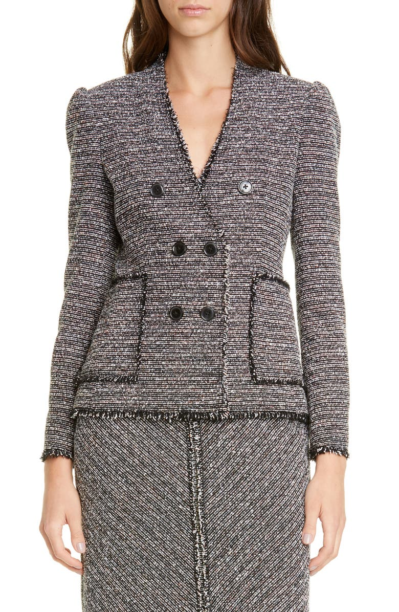 TAILORED BY REBECCA TAYLOR Cotton Blend Tweed Jacket, Main, color, BLACK MULTI