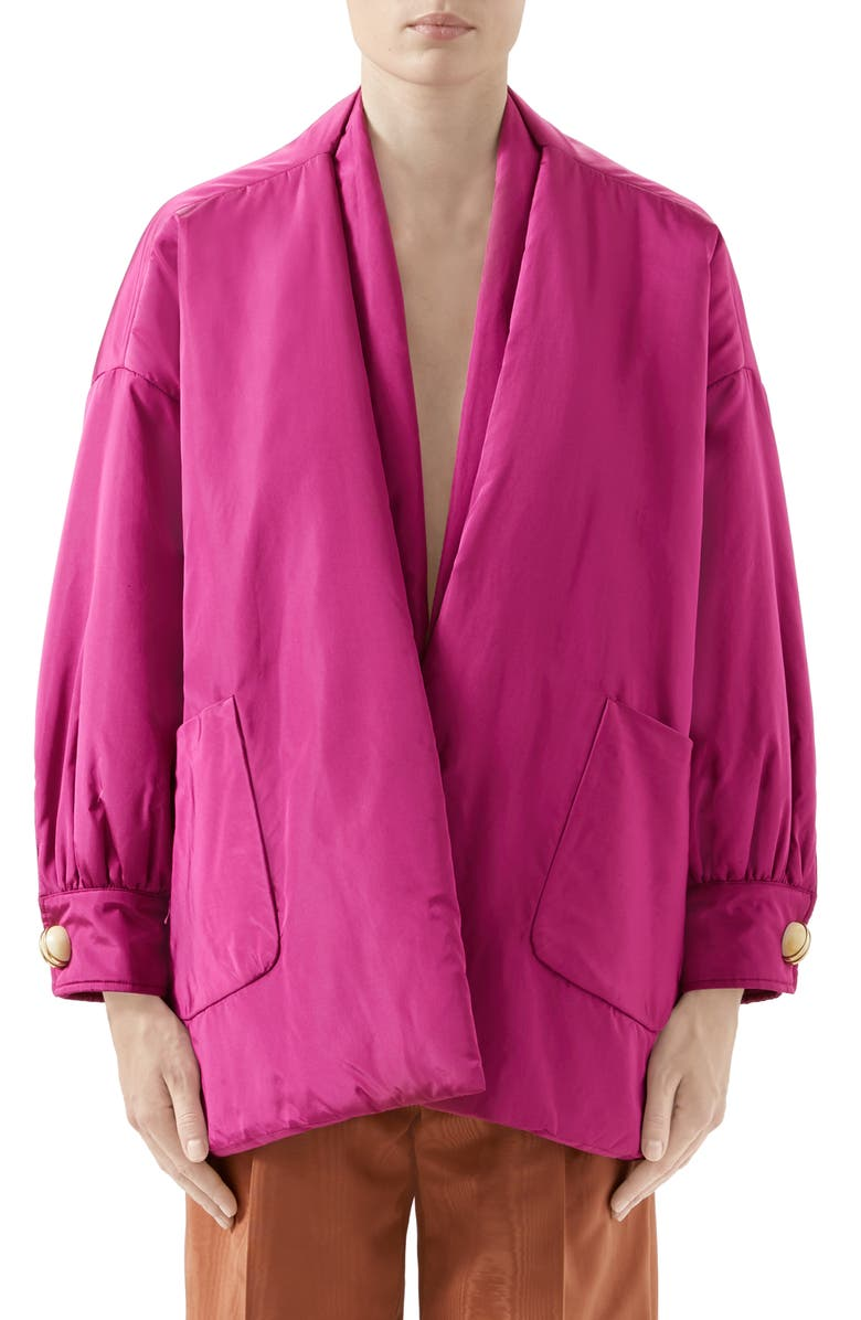 GUCCI Silk Taffeta Jacket with Removable Scarf, Main, color, BRILL CYCLAMIN PETAL