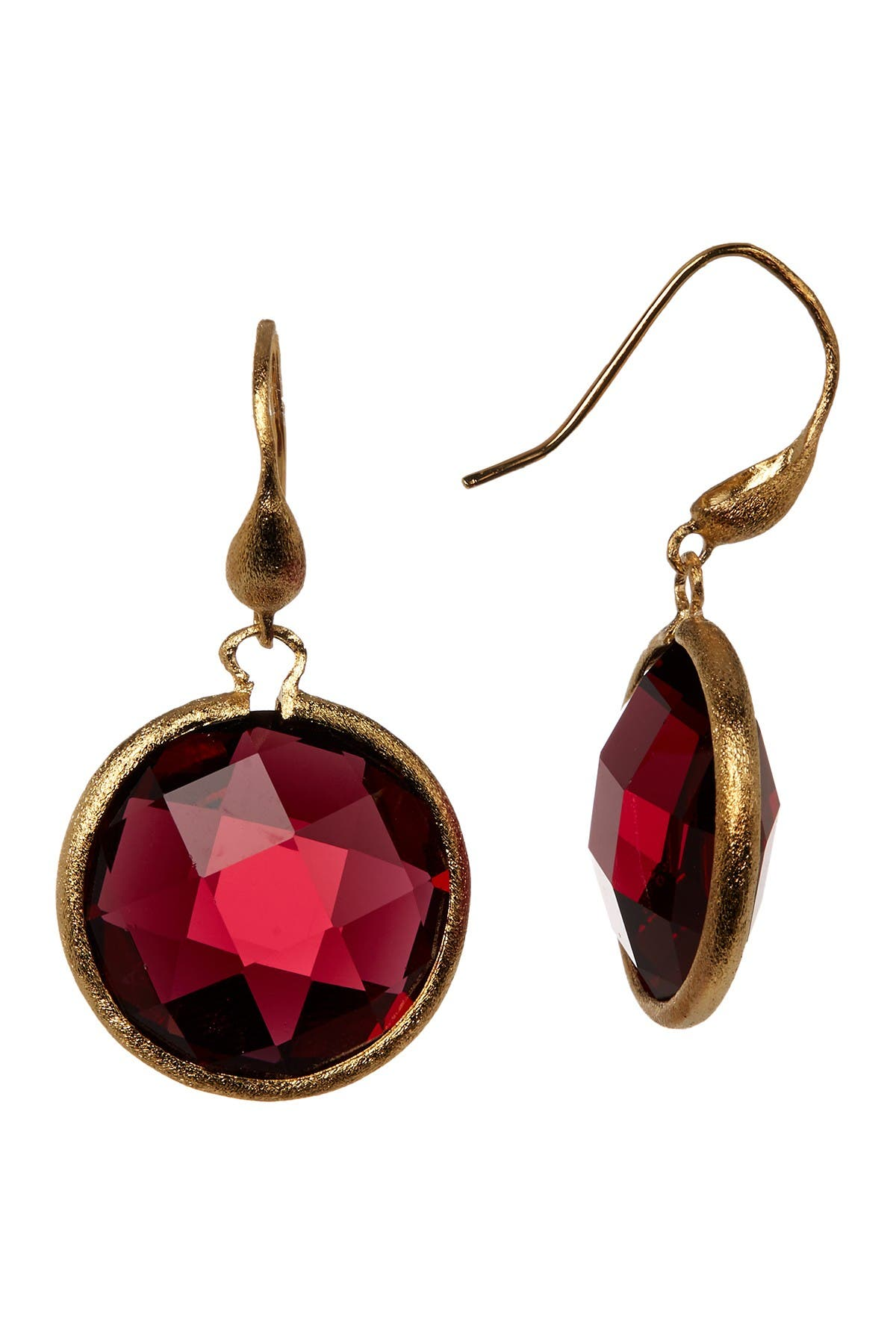 Image of Rivka Friedman Faceted Round Rubellite Crystal Dangle Earrings