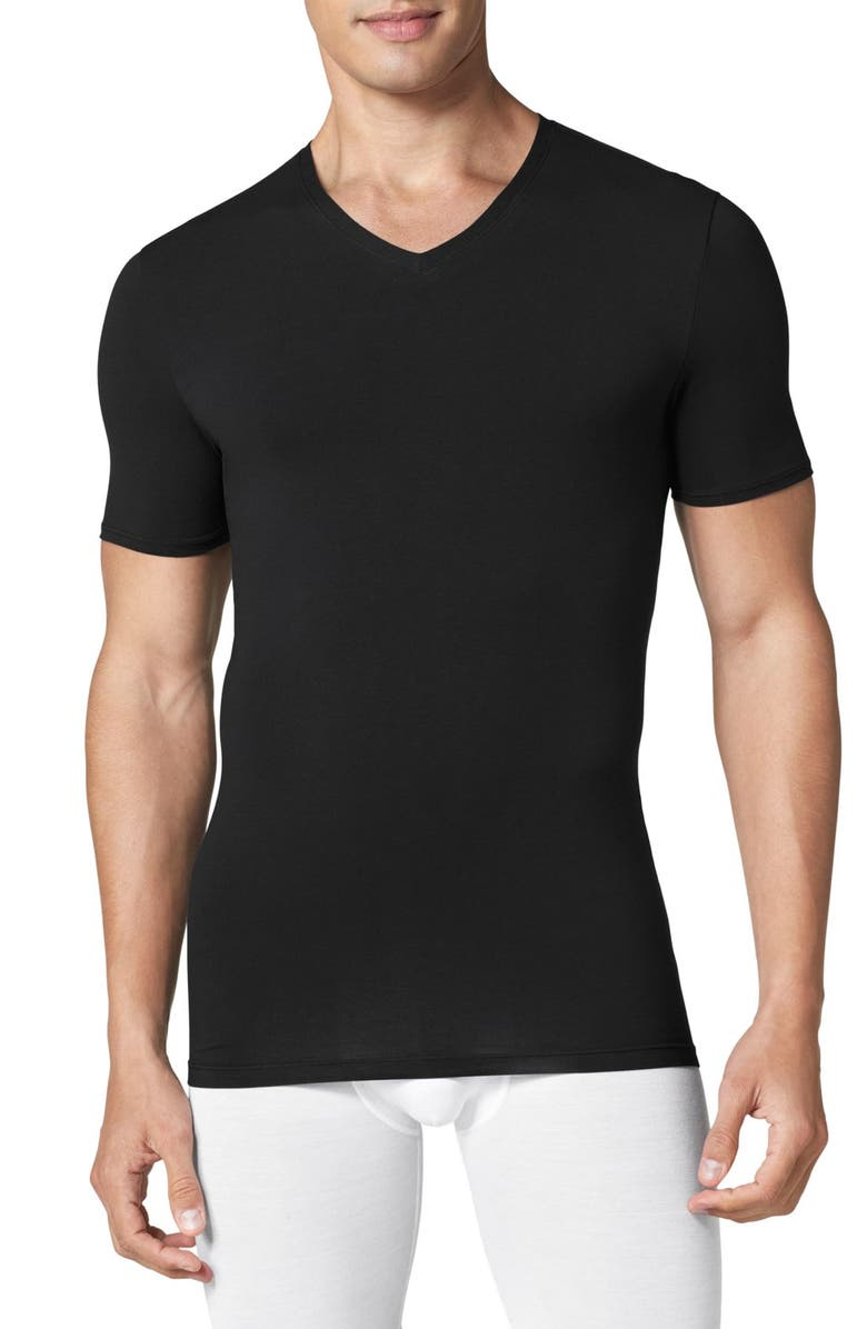 TOMMY JOHN Cool Cotton High V-Neck Undershirt, Main, color, BLACK