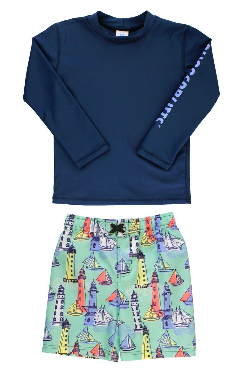 RUGGEDBUTTS Light the Way Two-Piece Rashguard Swimsuit, Main, color, NAVY
