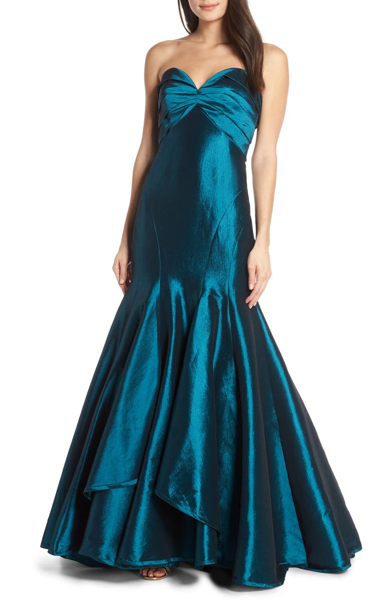 MAC DUGGAL Strapless Satin Mermaid Evening Dress, Main, color, TEAL