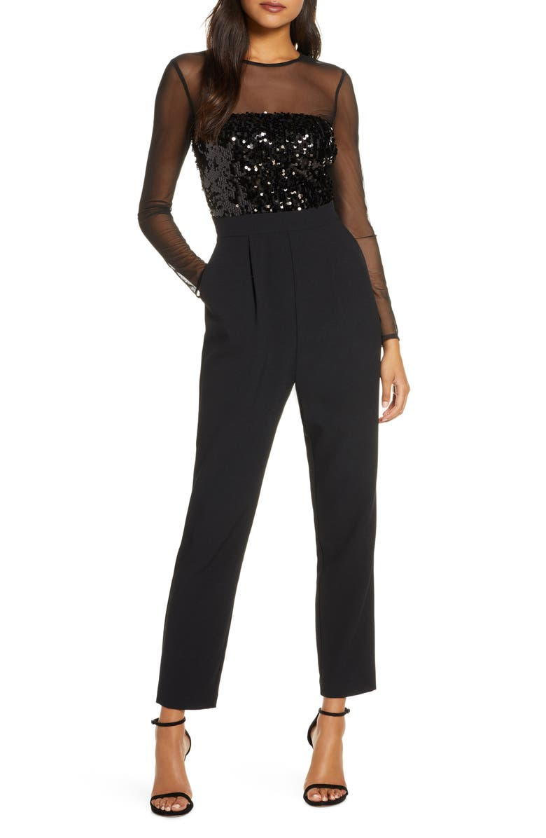 VINCE CAMUTO Sequin Bodice Long Sleeve Jumpsuit, Main, color, BLACK