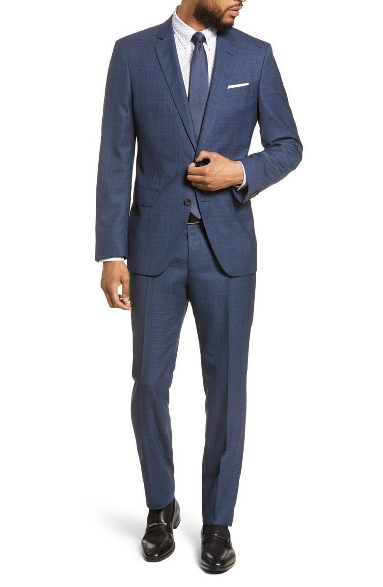 BOSS Trim Fit Plaid Wool Suit, Main, color, BLUE