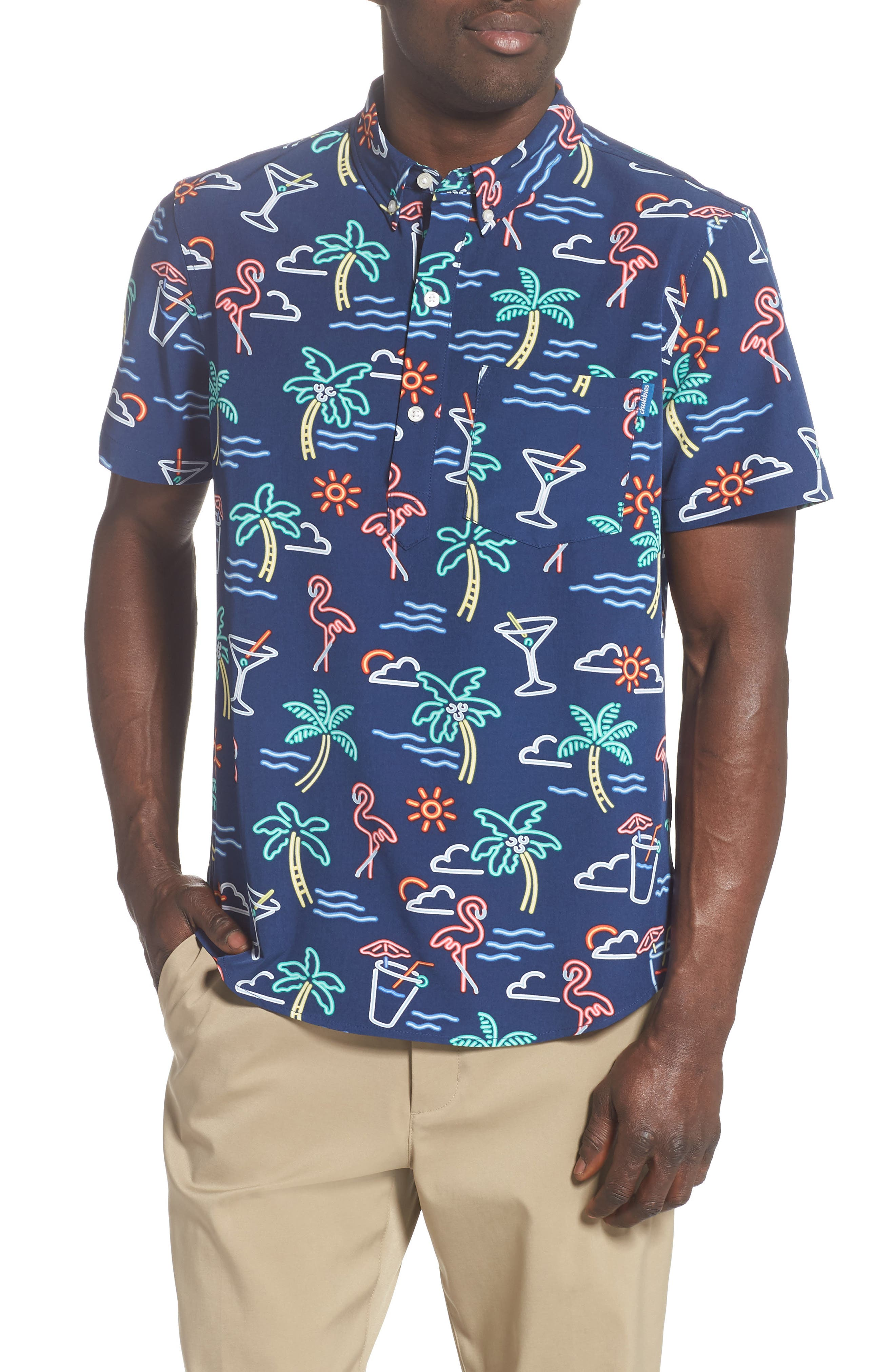 One Man Wolf Pack Short Sleeve Button-Down Popover Shirt