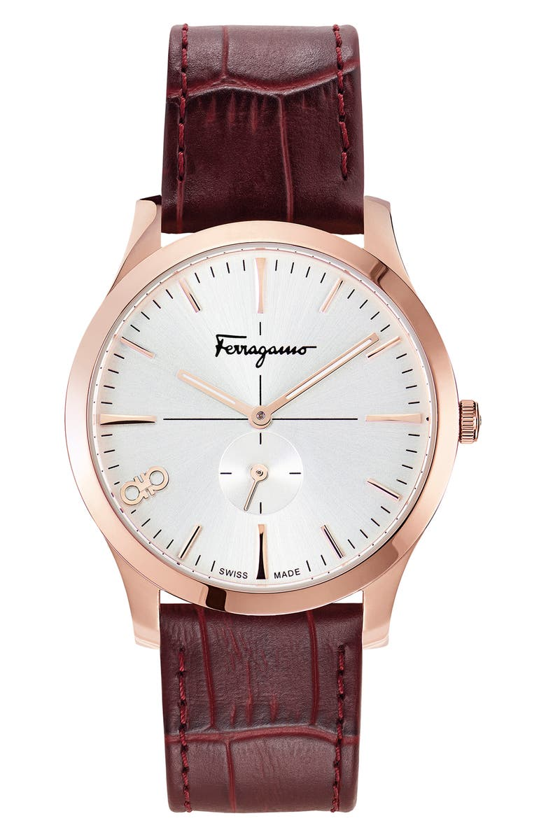 SALVATORE FERRAGAMO Slim Leather Strap Watch, 40mm, Main, color, RED/ SILVER SUNRAY/ ROSE GOLD