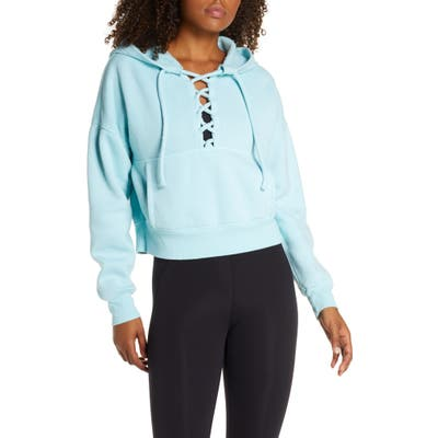 Free People Fp Movement Believe It Lace-Up Hoodie, Blue