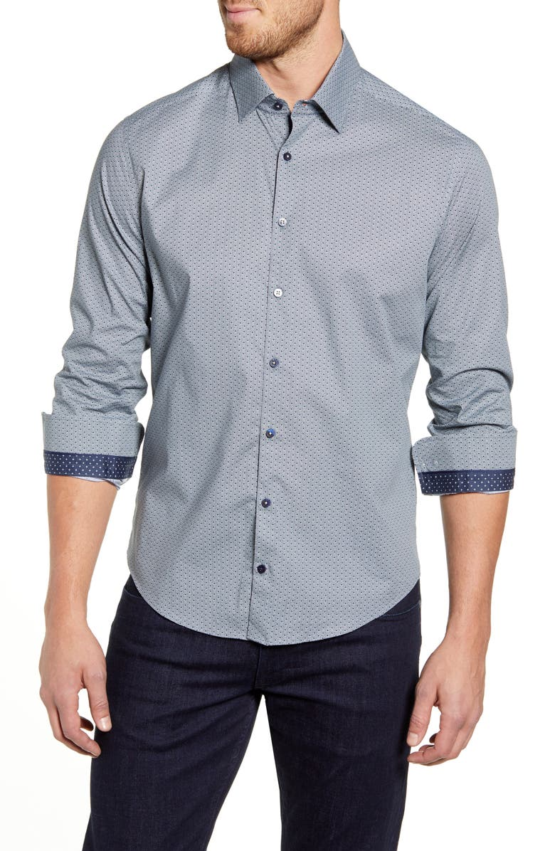 STONE ROSE Regular Fit Button-Up Sport Shirt, Main, color, NAVY