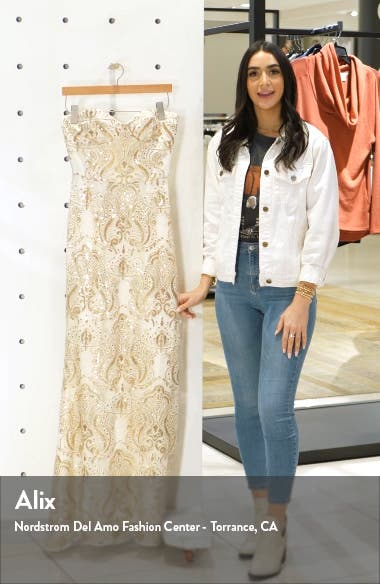 Nicolette Sequin Strapless Trumpet Gown, sales video thumbnail