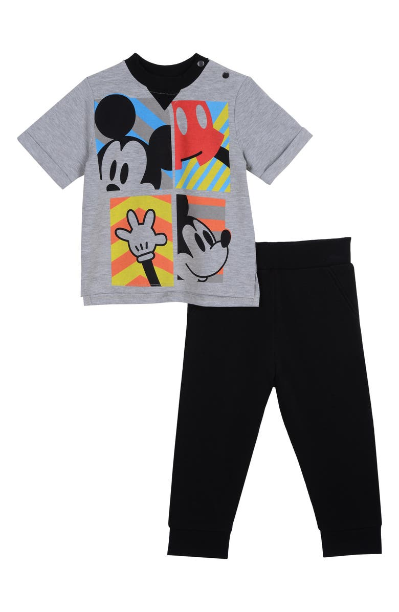LITTLE BROTHER BY PIPPA & JULIE x Disney<sup>®</sup> Mickey Mouse T-Shirt & Pants Set, Main, color, 028