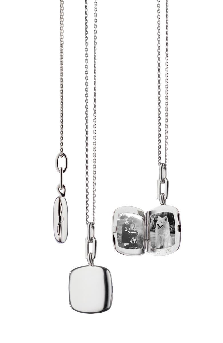 MONICA RICH KOSANN Slim Cushion Locket Necklace, Main, color, STERLING SILVER