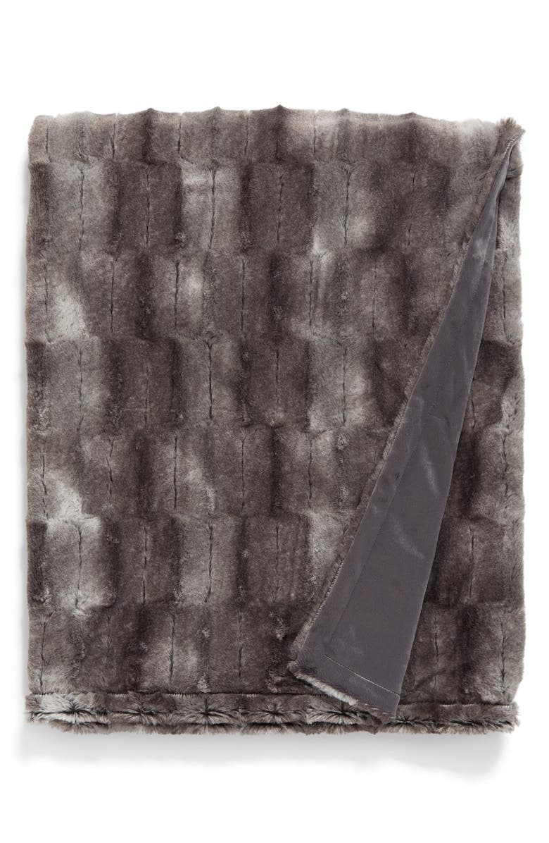 NORDSTROM AT HOME 'Lien' Faux Fur Throw, Main, color, 020