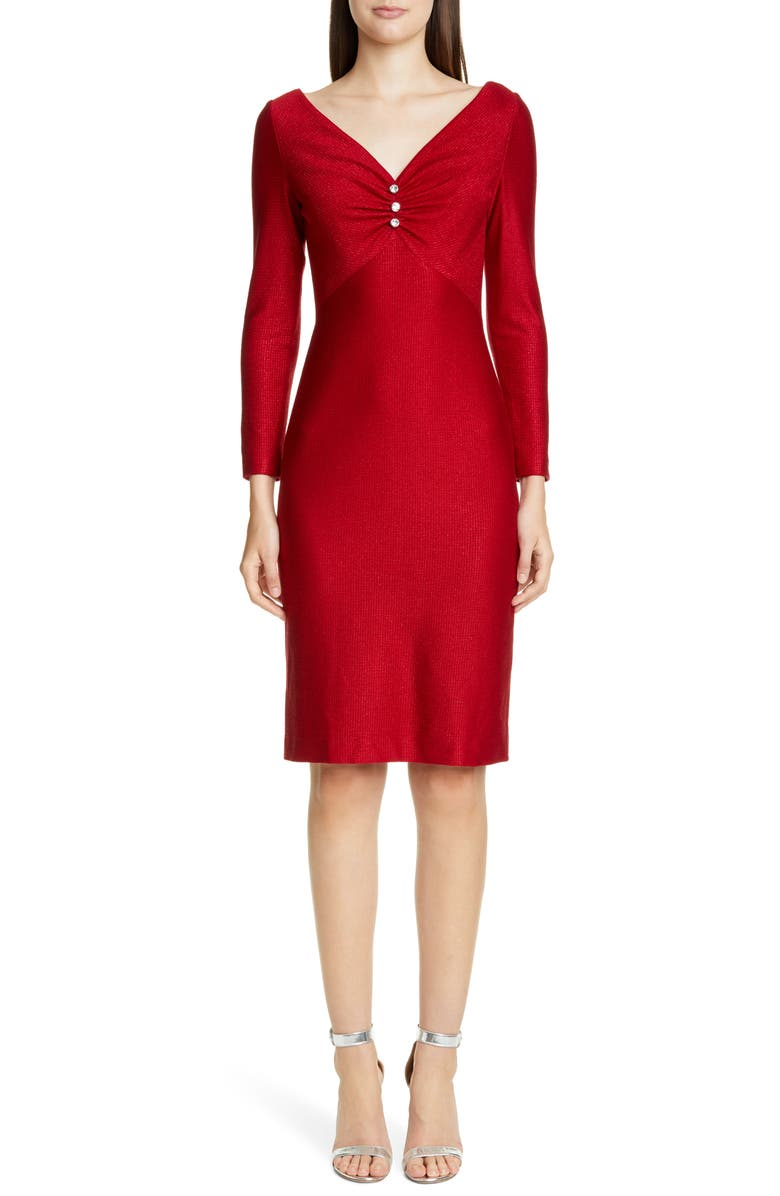 ST. JOHN COLLECTION Evening Shimmer Float Knit Long Sleeve Dress, Main, color, RUBY