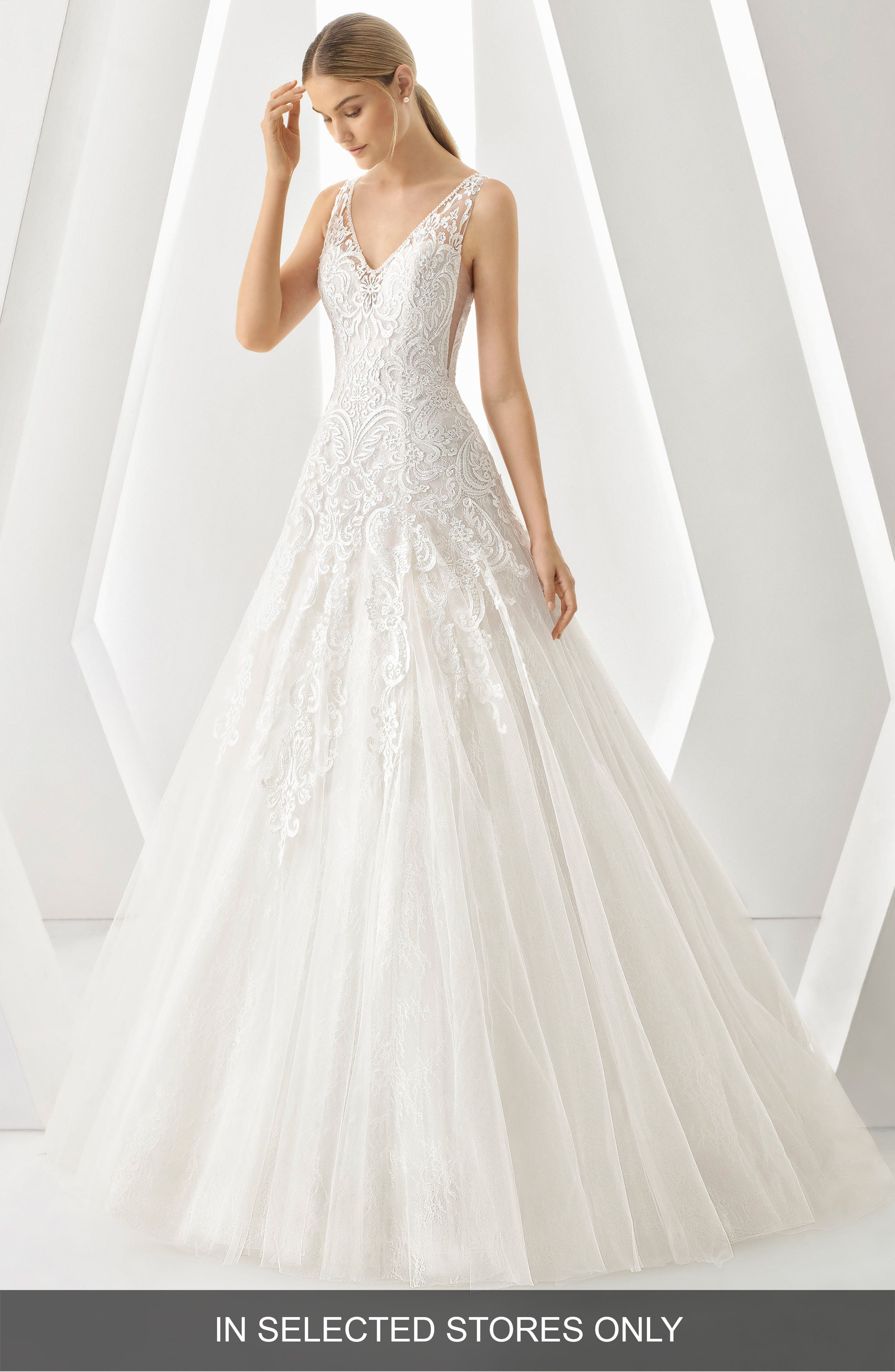 Rosa Clara Denar V-Neck Lace & Tulle Gown, Size IN STORE ONLY - White