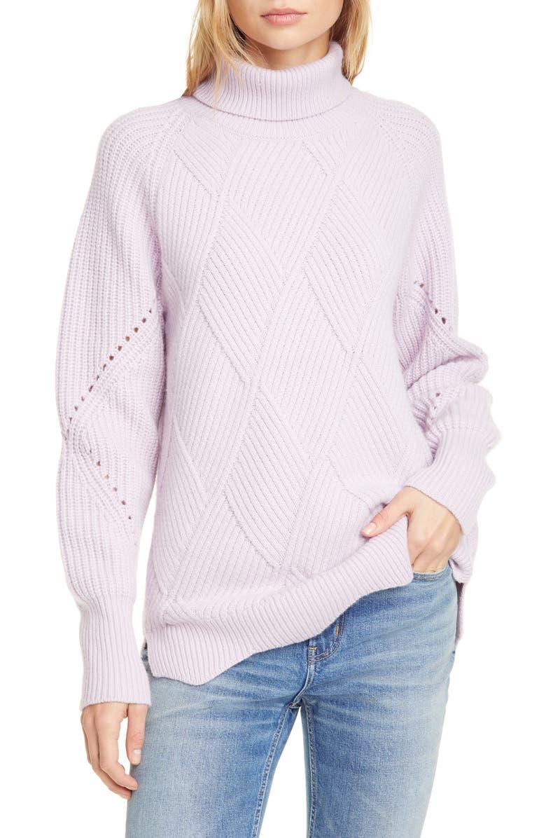 REBECCA TAYLOR Basket Weave Turtleneck Sweater, Main, color, PETUNIA