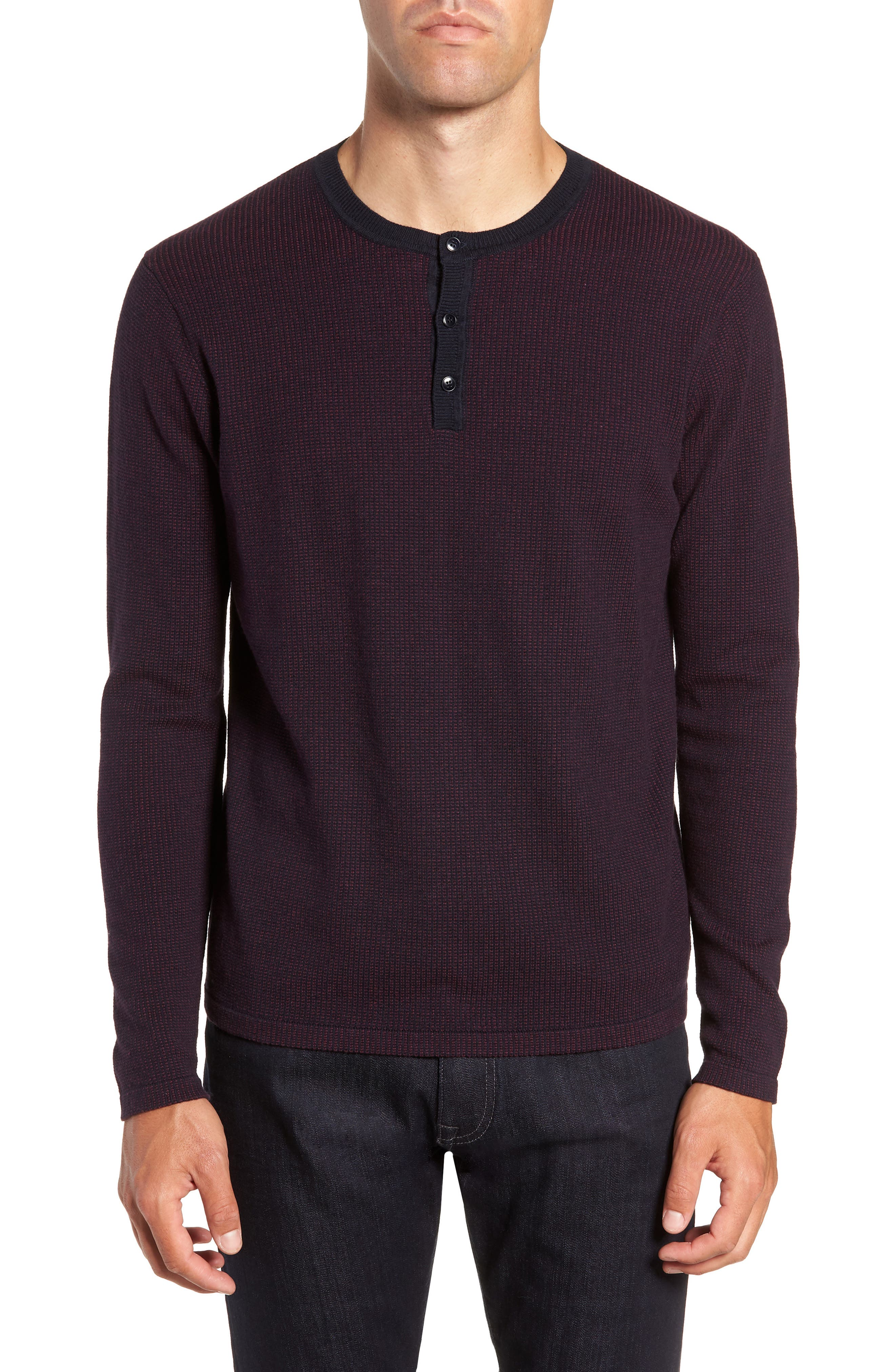 Kimball Regular Fit Henley Sweater, Main, color, WINE