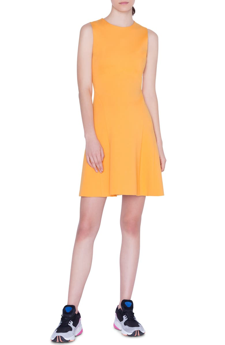 AKRIS PUNTO Sleeveless A-Line Jersey Dress, Main, color, SUN