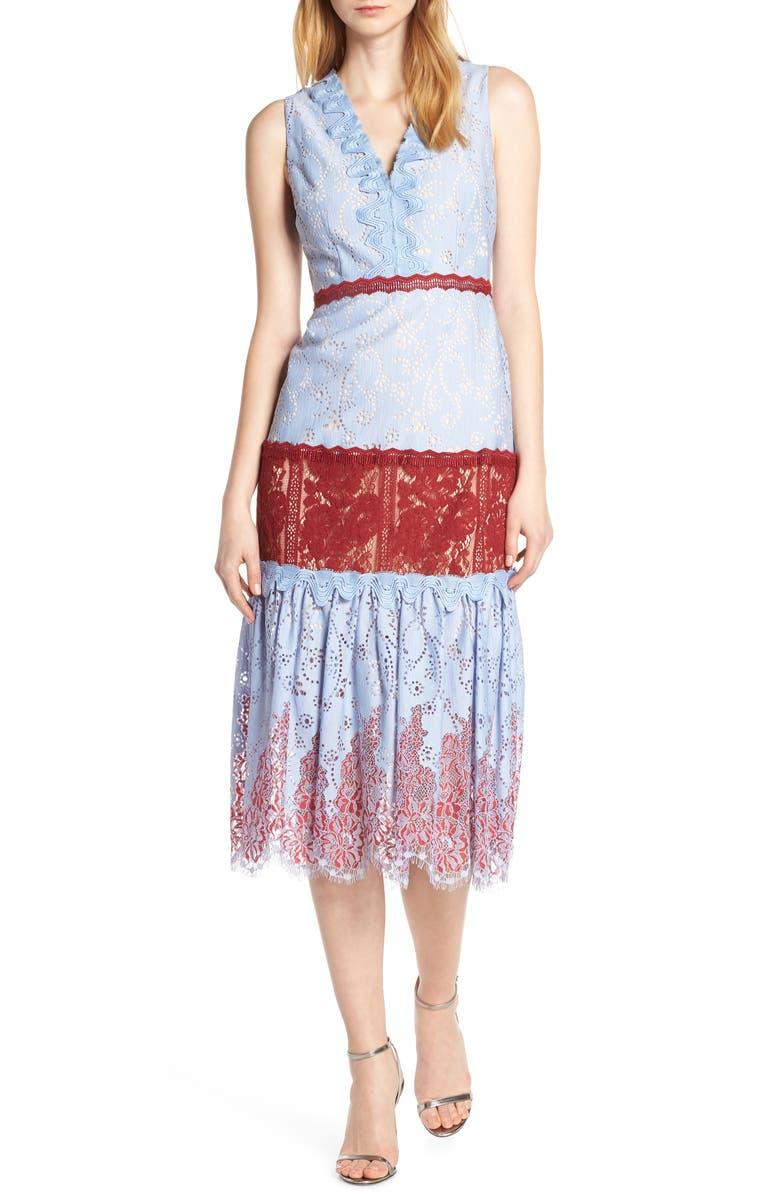 FOXIEDOX Fifi Lace Tea Length Dress, Main, color, 450
