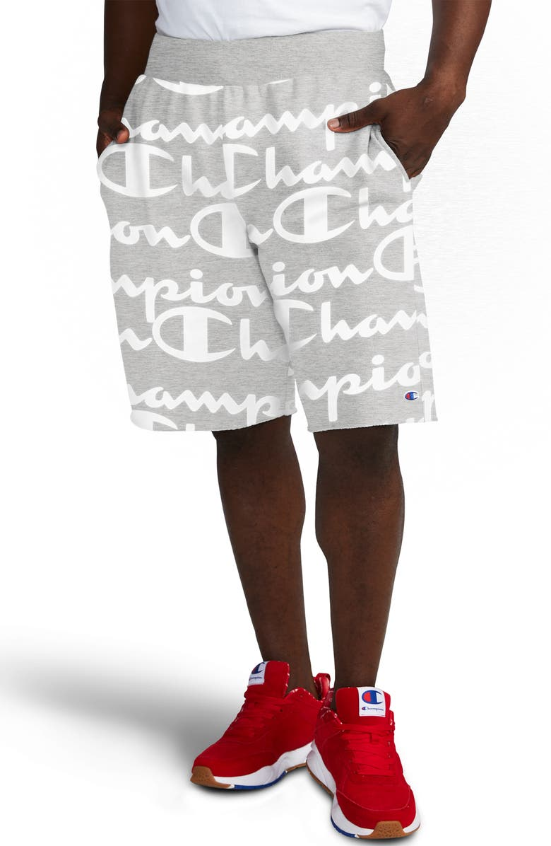 CHAMPION Life<sup>®</sup> Reverse Weave Script Cutoff Fleece Shorts, Main, color, 056