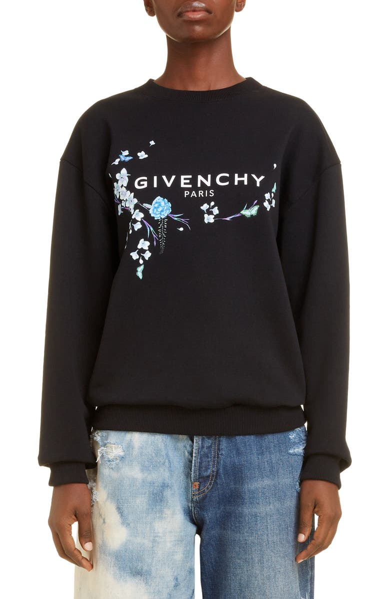 GIVENCHY Floral Logo Graphic Cotton Sweatshirt, Main, color, BLACK