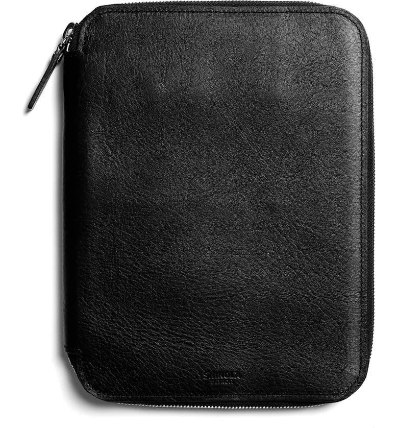 SHINOLA Leather Tech Portfolio, Main, color, BLACK