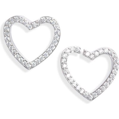 Nadri Cubic Zirconia Heart Stud Earrings