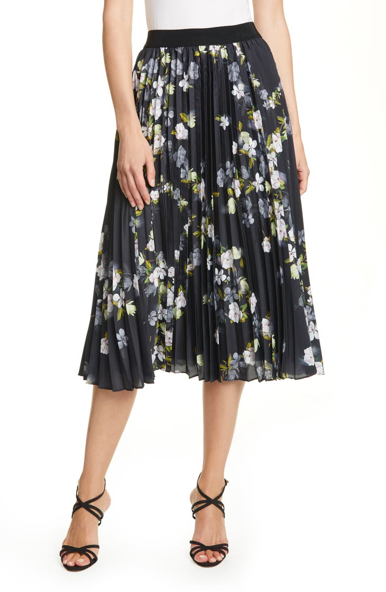 TED BAKER LONDON Mairry Opal Floral Pleated Skirt, Main, color, BLACK