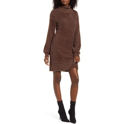 4Si3Nna Caley Eyelash Chenille Turtleneck Sweater Dress, Brown