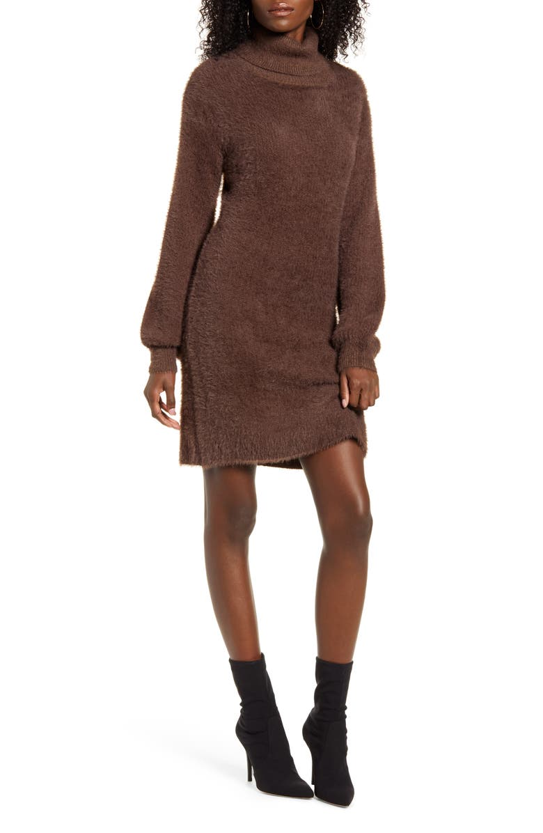 4SI3NNA Caley Eyelash Chenille Turtleneck Sweater Dress, Main, color, BROWN