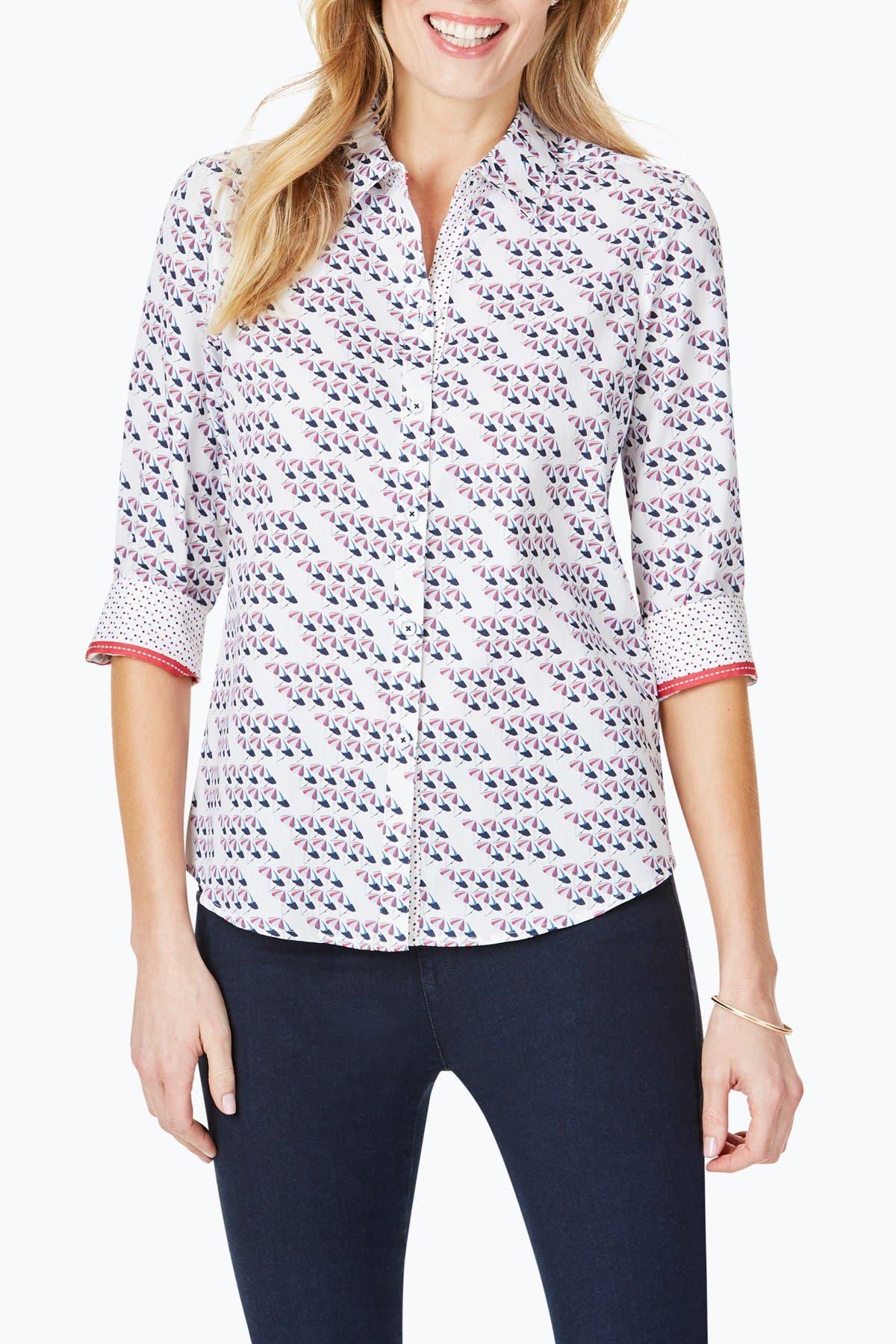 Image of FOXCROFT Ava Umbrella Print 3/4 Sleeve Shirt