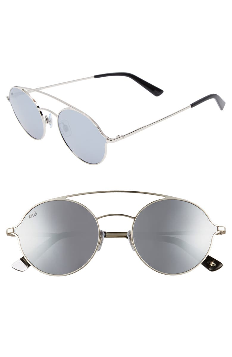 WEB 56mm Round Aviator Sunglasses, Main, color, SHINY PALLADIUM/ SMOKE MIRROR