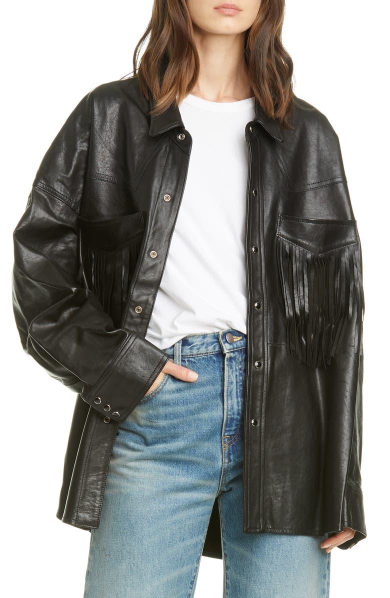 R13 Fringe Pocket Leather Shirt Jacket, Main, color, BLACK