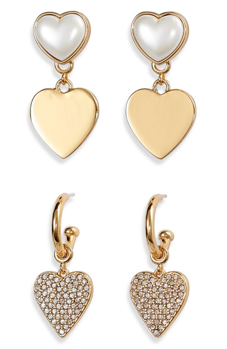 STELLA & DOT 2-Pack Heartbeat as One Earring Set, Main, color, GOLD/ MULTI