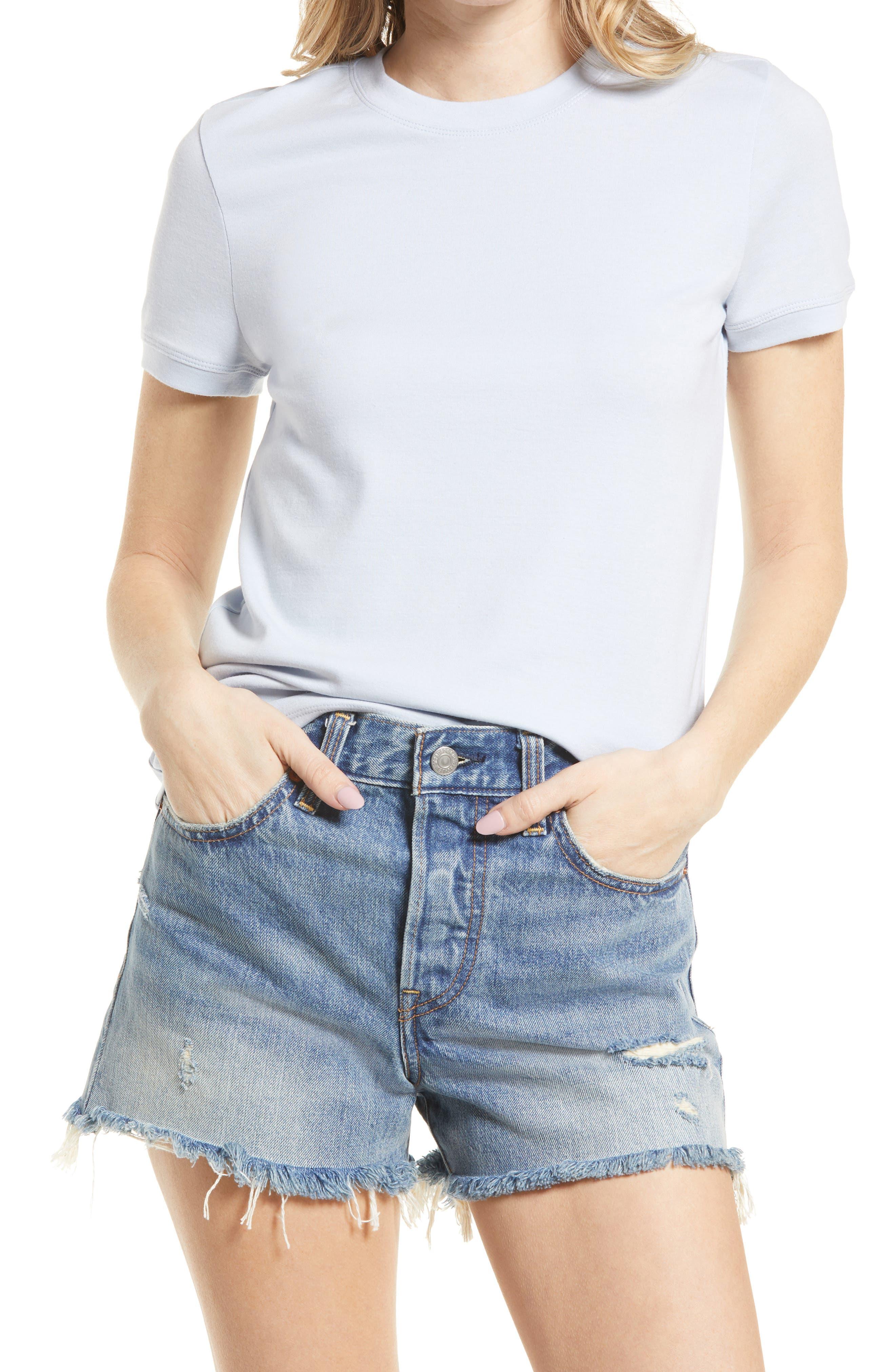 50s Shirts & Tops Womens Treasure  Bond Tonal Ringer T-Shirt Size X-Small - Blue $29.00 AT vintagedancer.com