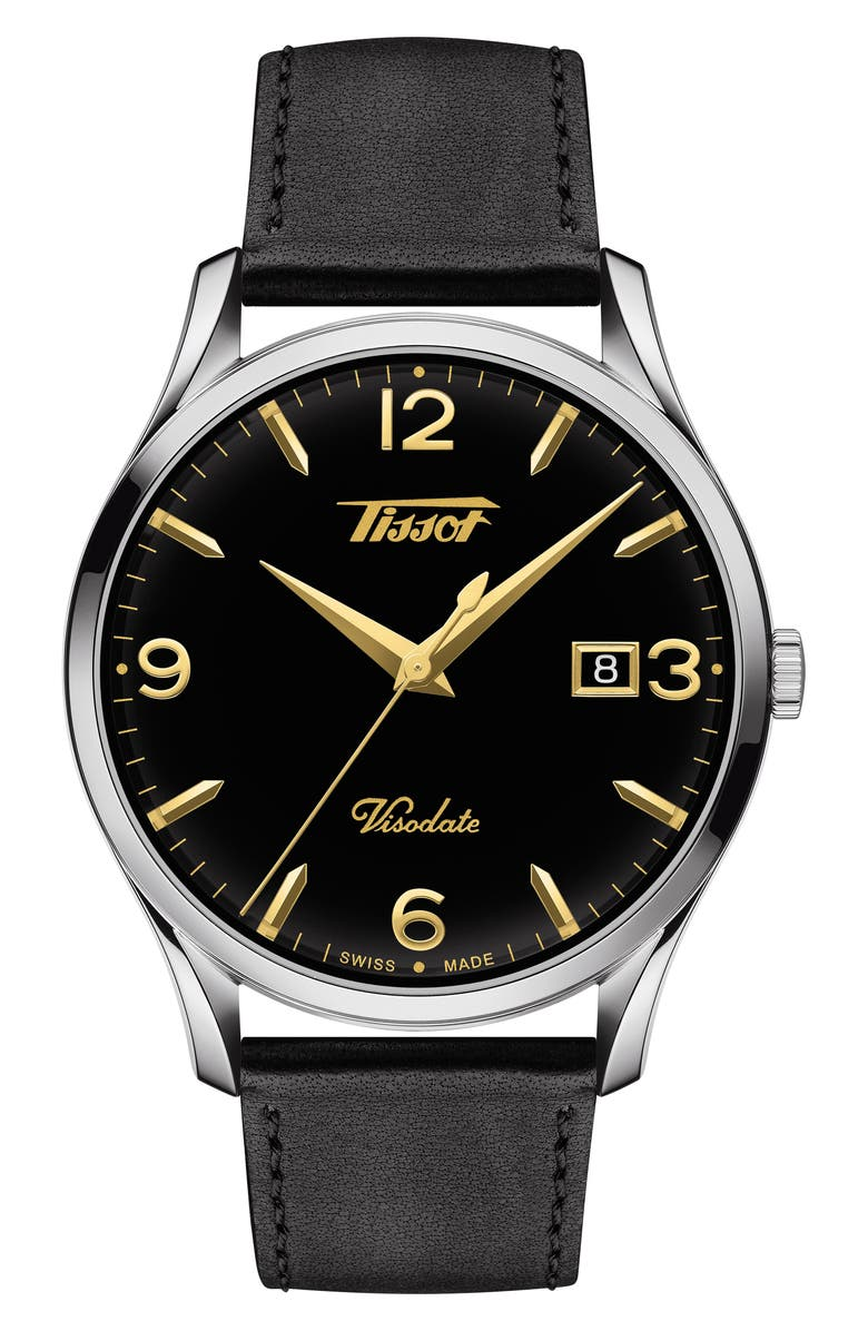 TISSOT Heritage Visodate Leather Strap Watch, 40mm, Main, color, BLACK/ SILVER/ GOLD