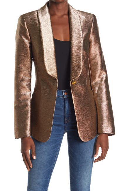 Image of Ramy Brook Dahlia Metallic Shawl Collar Jacket
