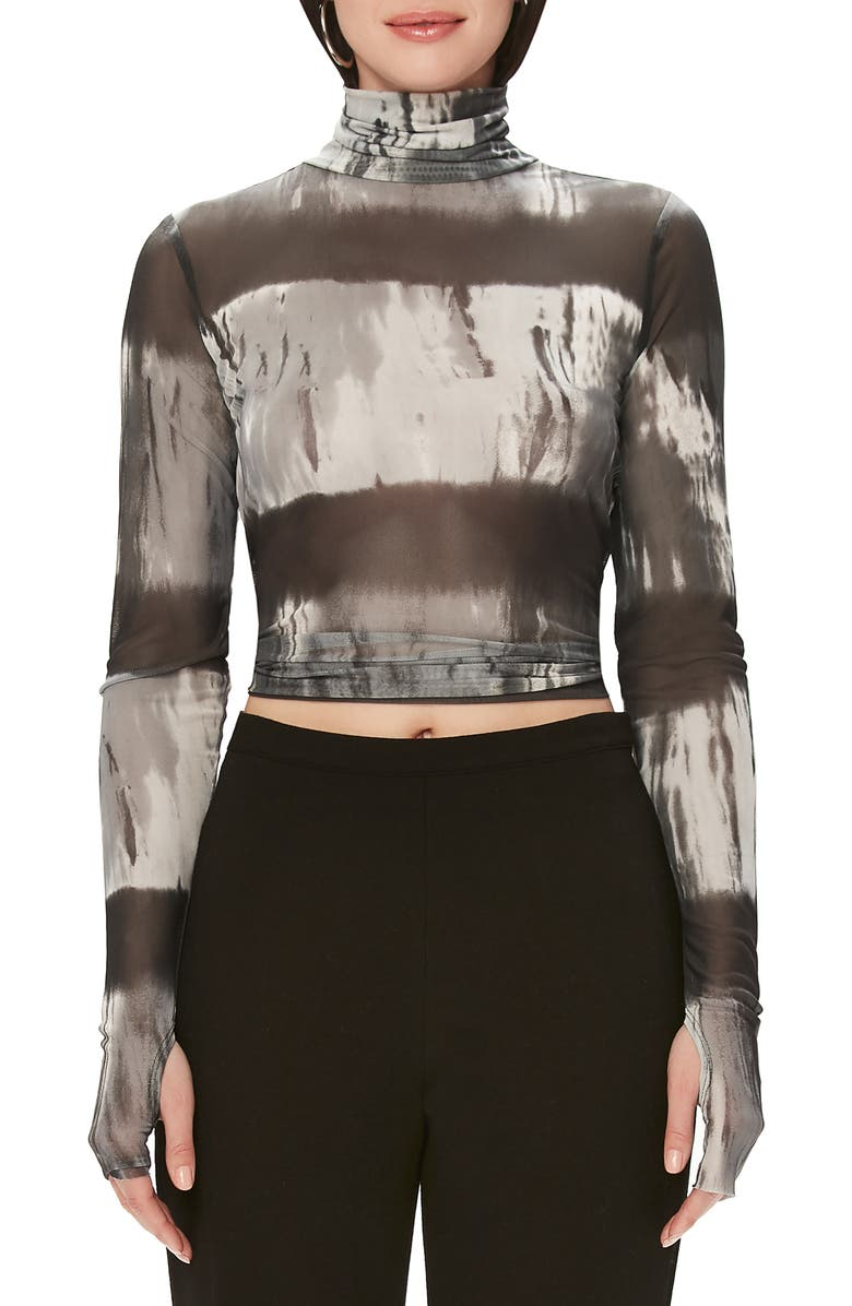 AFRM Zadie Semi Sheer Turtleneck, Main, color, BLACK/ WHITE STRIPE TIE DYE